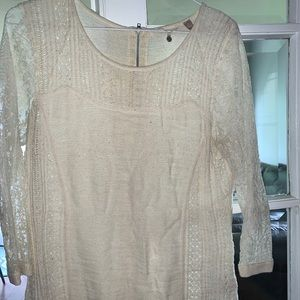 Anthropologie lace white sweater